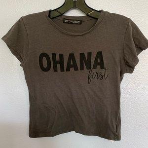 """""""Ohana First"""" Gray Crop Top"""